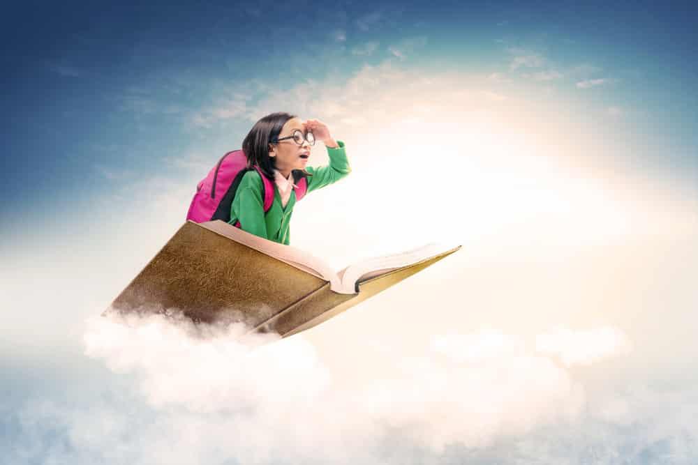 asian cute girl with glasses backpack sitting book with blue sky 101 Aneka Slogan Terkini untuk Pendidikan, Motivasi, Kesehatan dan Agama